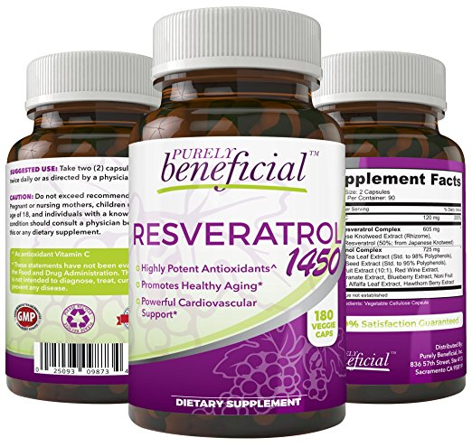 Purely Beneficial, Resveratrol 1450 Antioxidant Dietary Supplement